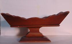 Wood Pedestal Footed, Fruit/nut Bowl Handcrafted Colonial Style