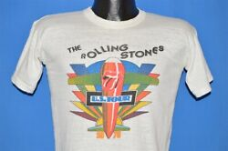 Vintage 70s Rolling Stones 1975 Us Tour Tongue Airplane White T-shirt Small S