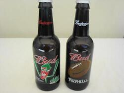Lot Of 2 Large 15 Budweiser Glass Collector American Beer Bottles Bud Football