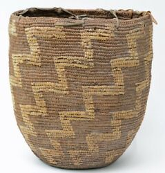 Antique Salish Indian Imbricated Coiled Burden Basket C. 1900