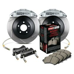 StopTech Front Big Brake Kit w Silver Caliper Slotted for 02-07 WRX 02-09 2.5RS