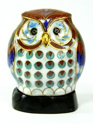 Vintage Chinese Cloisonne Copper Enamel Bird Owl Statue Figurine And Wooden Base