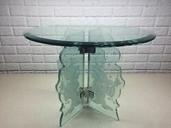Rare Disney Fantasia Sorcerer Mickey Etched Glass Table Guenther