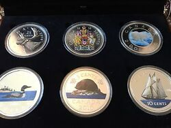 2016 Canada Big Coin Series 5 Oz Color Silver Proof 6 Coin Set W Wood Case Box