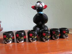 Vintage Red Clay Black Glaze Hand Painted Poodle Decanter And 6 Shot Glasses Japan