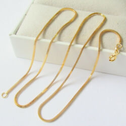 New Real 18k Yellow Gold Necklace 1mm Milan Box Link Chain Necklace 17.7 Inch