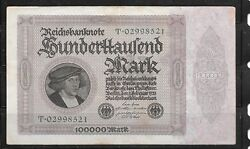Germany 83b Vf Circ 100000 Mark Old Banknote Paper Money Currency Bill Note