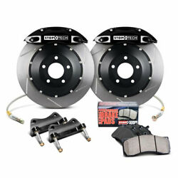 StopTech Front Big Brake Kit w Black Calipers Slotted for 02-07 WRX 02-09 2.5RS