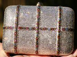 JUDITH LEIBER SWAROVSKI CRYSTAL FLOWER GARLAND MINAUDIERE CLUTCH WEDDING BAG $1749.99