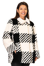 Clearance Black And White Sheared Beaver Fur Jacket Andndash Size 12-14