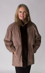 Clearance Amazing 3 In 1 Suede And Mink Fur Jacket/vest - Size 12