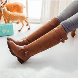 Fashion Womens Vintage Knee High Boots Low Heel Pull On Riding Shoes Plus Size