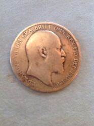 Antique 1902 One Penny Coin Edward V11 Of The British Empire One Penny Coin