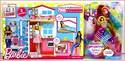 Lot 2- Barbie 4 Rooms 2 Story House And Furniture + Rainbow Cove Light Show Doll