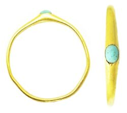 13th - 14th Century Medieval Gold Stirrup Ring Turquoise Gemstone Size 6 1/4