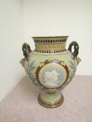 Mettlach Pottery 1978 Two Handled Bulbous Urn Cir.1900