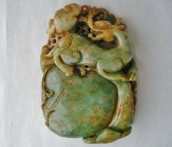 MIND BLOWING Antique JADE Sculpture Hand Carved BABY DRAGON Talisman WORK of ART