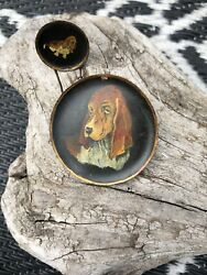 ANTIQUE BASSET HOUND HAND PAINTED PIN BROOCH ONE EARRING ESTATE