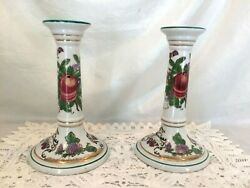 Pr Porcelain Classical Column Candle Holders Hand Painted Butterflies And Fruits