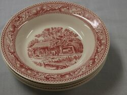Royal Ironstone Memory Lane Lot 4 Red/white Rimmed Soup Cereal Bowl Pasta 8 3/8