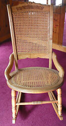 Antique Cain Back And Bottom Maple With Burl Rocking Chair Mint Condition