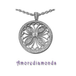 0.8 Ct F Vs Round Natural Diamond Butterfly Circle Pendant 14k White Gold 25mm