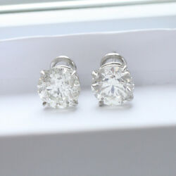 9.2 ct G SI2 natural round diamond 4 prong solitaire stud earrings platinum