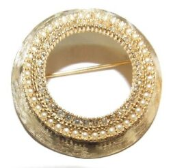 Vintage Benedikt New York Ny Circle Seed Pearl Costume Jewelry Brooch Pin