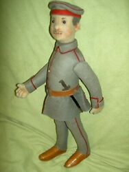 Antique German Steiff Military Uniformed Soldier Button-in-ear Doll Excellent