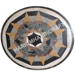36 Round Marble Coffee Table Top Mosaic Inlay Collectible Hallway Decors C846