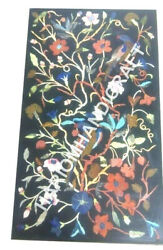 4'x2' Black Rectangular Marble Table Top Floral Marquetry Inlay Home Decors C881