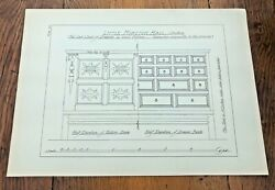 1902 Large Measured Drawing Print Old Oak Chest Of Draws.little Morton Hall 24