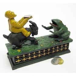 Sp1476 - Frog And Goat Collectors' Die Cast Iron Mechanical Coin Bank