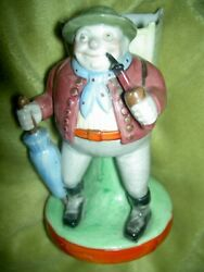 German Schafer And Vater Bisque, Porcelain Match Or Toothpick Holder Man W/ Pipe