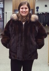 Reversible Mink Fur/cabretta Lamb Leather Jacket With Fox Trimmed Hood- Size 20