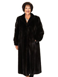 """Natural Ranch Letout Mink 50"""" Coat With Horizontal Design On Sleeves Size 12"""