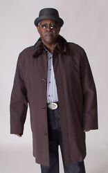 """Clearance Gabardine 40"""" Trench Coat, Detachable Mink Collar And Liner"""