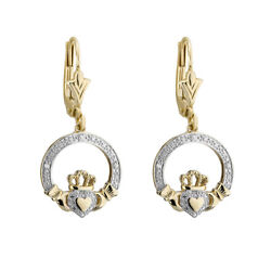 Solvar 10k Yellow Gold Diamond Claddagh Drop Earrings s33943 - Made in Ireland