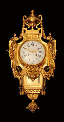 ANTIQUE 19 CENTURY FRENCH GOLD PLATED BRONZE PREYAT WALL CLOCK - MUSEUM QUALITY