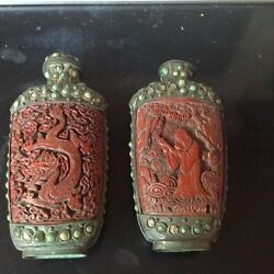 A Pair Of Rare Large Lacquer Jewel Silver Snuff Bottle