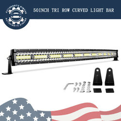 Tri Row 50inch Curved Led Light Bar Spot Flood 1170w Driving Offroad 4wd Atv 52
