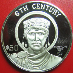 1997 Cook Islands 50 Proof .94oz Silver Justinian Code Of Civil Law Superb Rare
