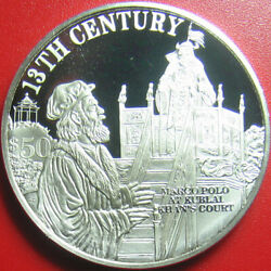 1997 Cook Islands 50 Silver Proof Marco Polo Kublai Khan 13th Century Km325.1