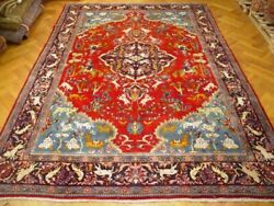 Persian Rug 10 x 14 Red Garden of Eden unique Art Work with Dragons Rug