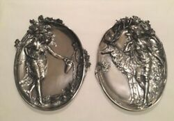 Pair Of Wmf Period Art Nouveau Silver Plated Pewter Plaques