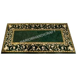 4and039x2and039 Marble Green Dining Table Top Marquetry Pietradura Inlay Garden Decor C588