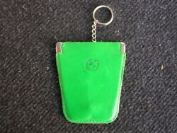 Bmw Original Vintage Leather Key Ring Pouch Chain - Car Accessory - Nos