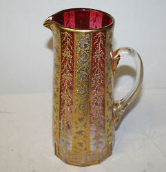 Moser Cranberry Art Glass Pitcher Done In Cranberry, Gold And Platinum