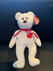 Ty Beanie Baby Valentino Bear With Black Eyes And Brown Nose And P.v.c. Pellets