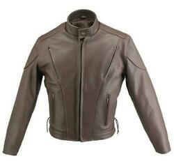 Menand039s Made In Usa Classic Brown Naked Leather Vented Motorcycle Jacket With Gun